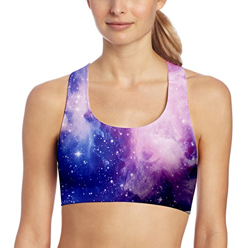 Women's Sports Bras Galaxy Print Medium Support Workout Crop Top Yoga Bra S