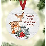 Baby's First Christmas 2018 Ornament - Woodland Animals Theme Baby Shower Present - Deer, Fox, and Raccoon