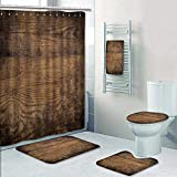 Philip-home 5 Piece Banded Shower Curtain Set Brown Wood Texture Decorate The Bath