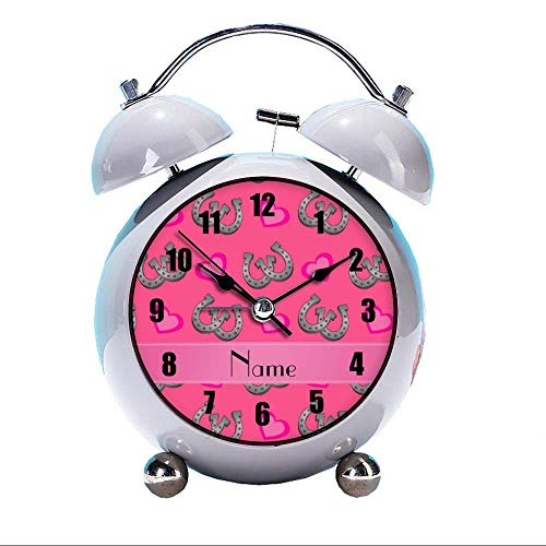 GIRLSIGHT Cute Color Alarm Clock, Round Horse Desk Clock with Night Light Personalized Name Pink Horseshoes Hearts Bedroom Decorations(Grey)
