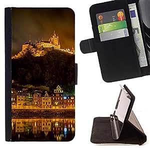 BullDog Case - FOR/Sony Xperia m55w Z3 Compact Mini / - / Mountain City Night /- Monedero de cuero de la PU Llevar cubierta de la caja con el ID Credit Card Slots Flip funda de cuer