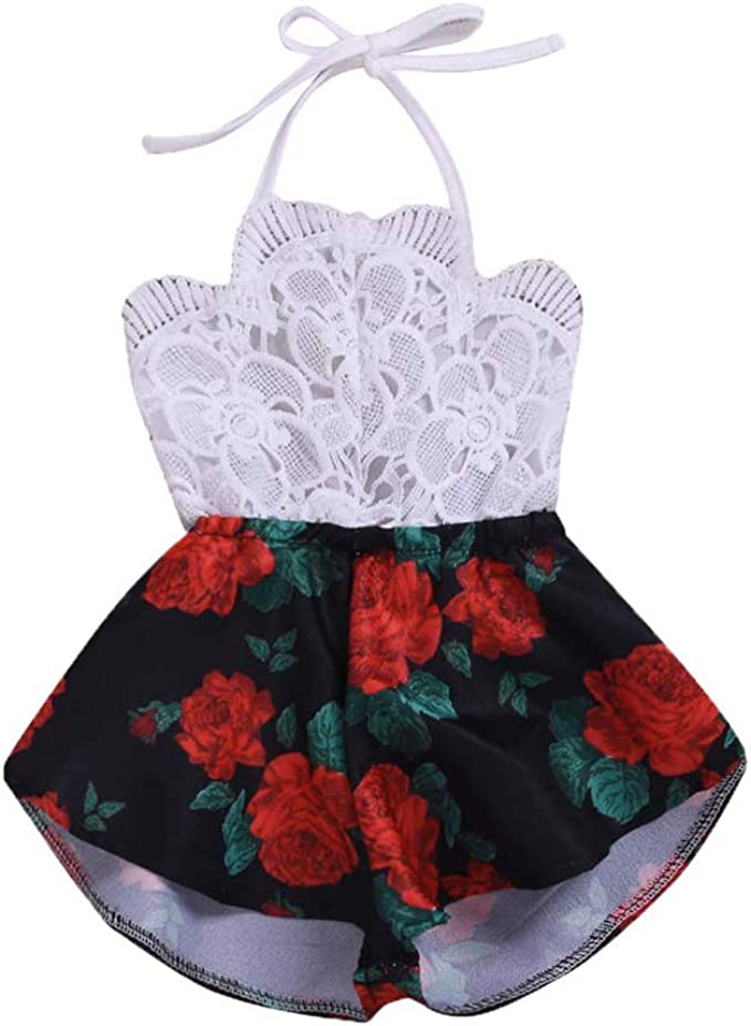 Carolilly Baby M/ädchen /Ärmellos Kurz Sommer Elegant Jumpsuit Wei/ß OverallPrinzessinenkleid