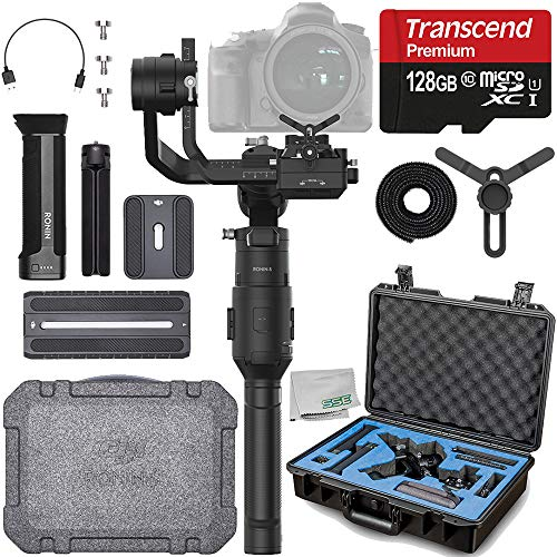 DJI Ronin-S Essentials Kit with Starter Accessory Bundle - Includes: 128GB Transcend MicroSDHX Memory Card & Ultimaxx Waterproof Case for DJI Ronin-S & Much More