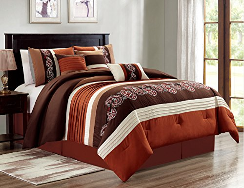 Queen Comforter Spice Set (JABA 7 Piece Raya Spice/Coffee Comforter Set Queen)