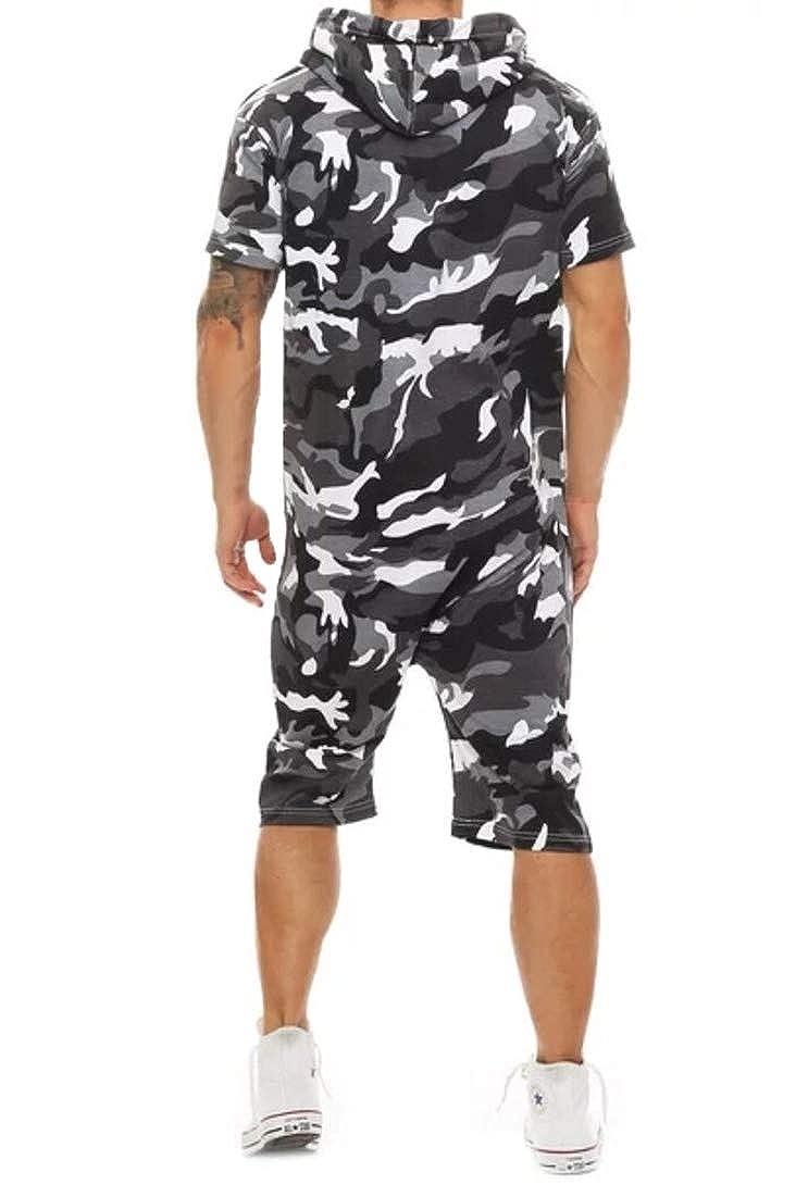 Gocgt Mens Zipper Long Playsuit Pajama Jumpsuit Casual Hooded Suit