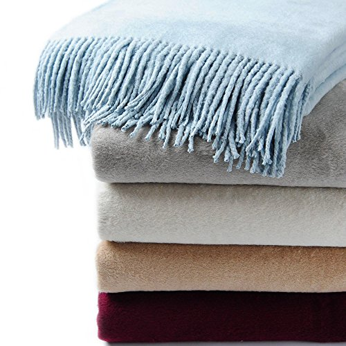 CUDDLE DREAMS Exclusive Mulberry Silk Throw Blanket with Fringe, Naturally Soft, Breathable (Ice Blue)