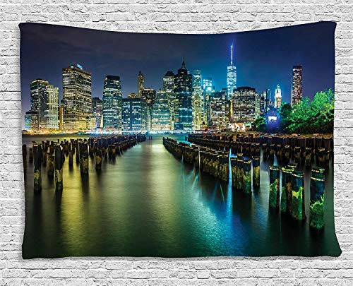 XHFITCLtd New York Tapestry, Pier Pilings and Manhattan Skyline at Night Downtown Urban East River, Wall Hanging for Bedroom Living Room Dorm, 80WX60L Inches, Dark Blue Green Yellow from XHFITCLtd