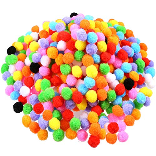 Caydo 600 Pieces 0.59 Inch 1.5cm Pom Poms for Hobby Supplies and DIY Creative Crafts Decorations, Assorted Colors