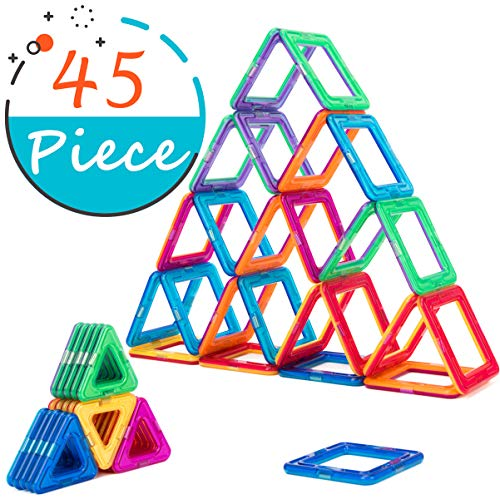 COSSY Magnet Tiles Building Block 45 PCs, Magnetic Stick and Stack Set for girls and boys, Perfect STEM Educational Toys for Kids Children, ()