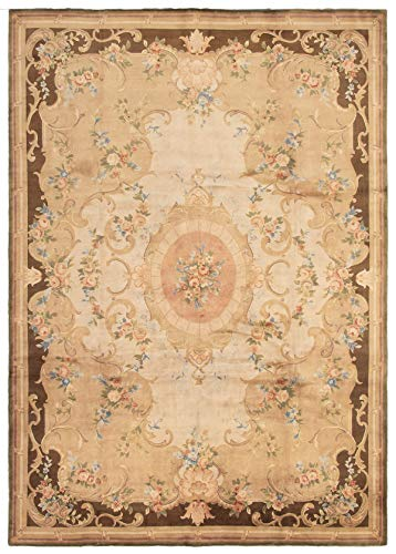 (Large Area Rug for Living Room, Bedroom | Hand-Knotted Wool Rug | Savonnerie Bordered Ivory Rug 10'0