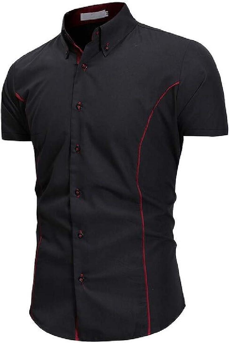 Domple Mens Business Casual Regular Fit Short Sleeve Lapel Neck Button Down Dress Work Shirt