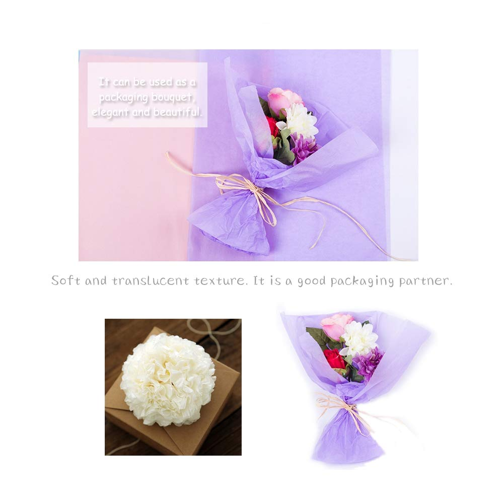 100 Pcs Multi Colored Gift Wrapping Tissue Paper,12/×18Art Paper for Packing Christmas Gift Flower and DIY Craft