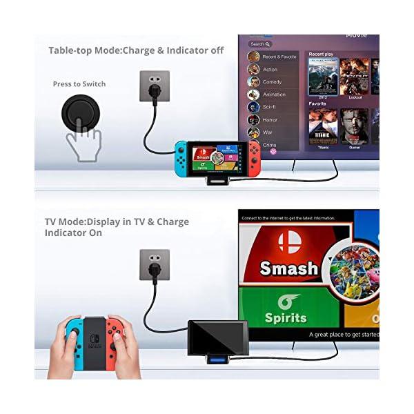 HeysTop Switch Dock Base de Carga para Nintendo Switch con cable HDMI,Switch Dock Puerto de Carga USB C, USB 3.0 y…