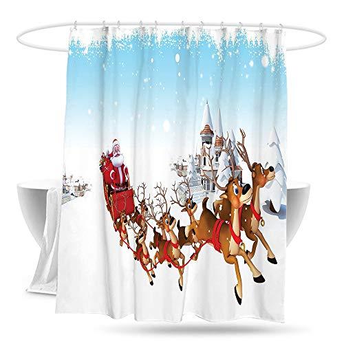 hehang Santa Waterproof Bathtub Curtain Christmas Ride on a Sleigh Cartoon Deer with Jingle Bells Winter Time Bathroom Decoration W70×L70 Caramel Red Pale Blue