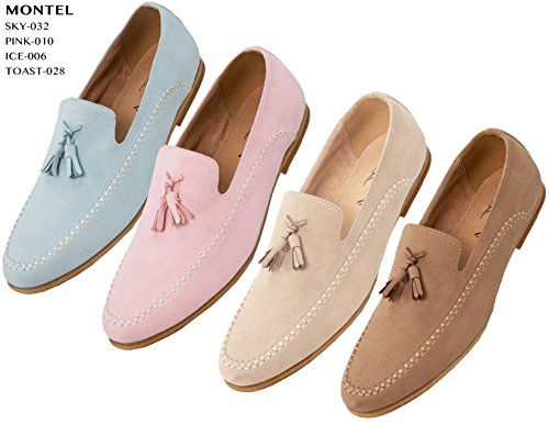 Mocassino In Morbida Simil-pelle Scamosciata Di Amali, Slip On Dress Scarpa Con Nappe Tan