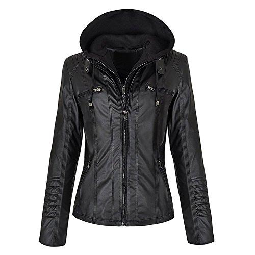 LP-FACON Women New Biker Slim Fit Detachable Zipper Hoodie Motorcycle Black Genuine Leather Jacket - Hooded Leather Motorcycle Jacket