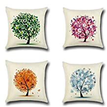 Kimloog Hot Sale! 4Pc 18 x18 Inch Maple Leaf Print Throw Pillowcases Linen Cotton Sofa Car Decoration Cushion Covers (C)