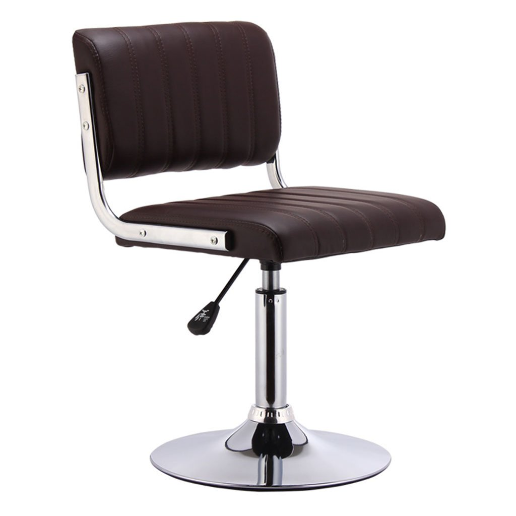 Brown Short models Black Brown Red White High Low Section Leatherette + Sponge Cushion Bar Chair Can Lifting 360 ° Swivel Chair Bar Steel Chair Cashier Tall Stool Backrest Stool Bar Stools