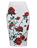 Kate Kasin Women High Waist Stretchy Floral Pencil Skirt Office Wear KK837-1 M