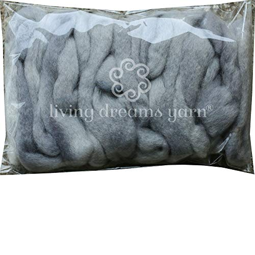 Wool Roving Hand Dyed. Super Soft BFL Combed Top Pre-Drafted for Easy Hand Spinning. Artisanal Craft Fiber ideal for Felting, Weaving, Wall Hangings and Embellishments. 1 Ounce. Silver