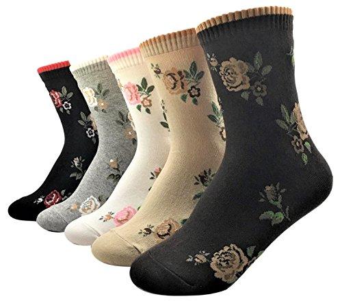 5 Pairs Women Teen Girls Flower Print Soft Cotton Crew Socks Perfect Gifts (Little Rose)