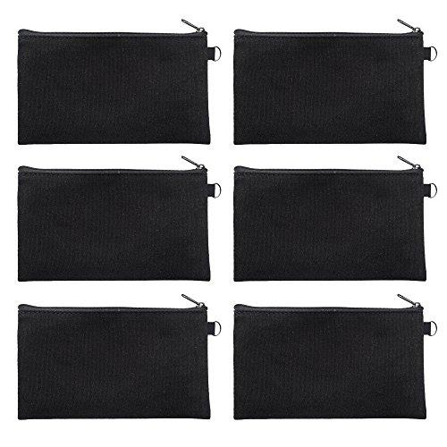 Aspire 6-Pack Black Canvas Zipper Pouches 7 3/4