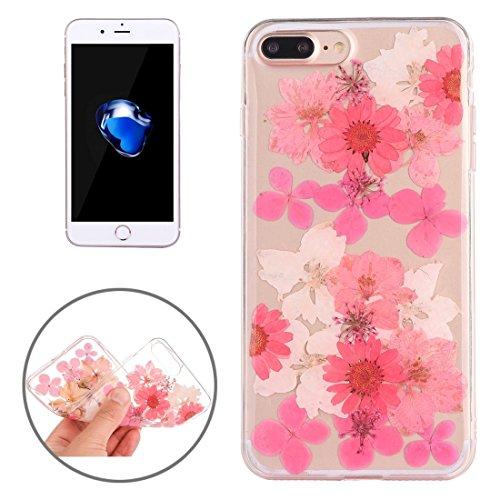MXNET Iphone 7 Plus Fall, Epoxy Dripping gepresst echte getrocknete Blume weichen transparenten TPU Schutzhülle CASE FÜR IPHONE 7 PLUS ( SKU : Ip7p0996p )