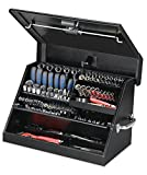 Montezuma - SM200B - 22.5-Inch Portable TRIANGLE Toolbox - Heavy-Duty Steel Construction - Metric and SAE Storage Chest - Weather-Resistant Toolbox - Lock and Latching System