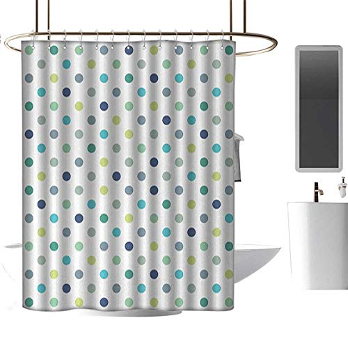 RenteriaDecor Shower Curtains Nature Mural Polkadot,Polka Dots Retro Classy Vintage Fabric Pattern Design Style,Apple Green Dark Blue Jade Green,W108 x L72,Shower Curtain for Women