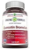 Amazing Nutrition- Quercetin 800 Mg with Bromelain 165 Mg, 120 Vcaps: A Potent Team Providing Amazing Health Benefits. Anti-oxidant and Anti-inflammatory Properties. Supports Heart Health, Joint Health, Energy Production, Respiratory Health, Inflammatory