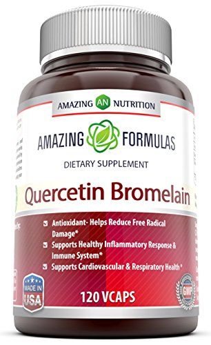 Amazing Nutrition- Quercetin 800 Mg with Bromelain 165 Mg, 120 Vcaps: A Potent Team Providing Amazing Health Benefits. Anti-oxidant and Anti-inflammatory Properties. Supports Heart Health, Joint Health, Energy Production, Respiratory Health, Inflammatory Response and Overall Healthy Well-being!!