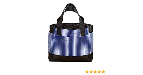 Portable Travel Picnic Striped Lunch Bag Thermal Insulation Bag Tote Storage Bag