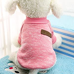Idepet Pet Dog Classic Sweater, Fleece Coat for Small,Medium,Large Dog,Warm Pet Dog Cat Clothes,Soft Puppy Customes 2 Color (XS, Pink)
