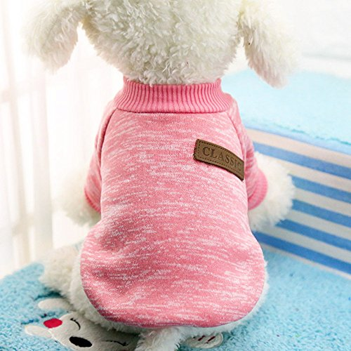 Idepet Pet Dog Classic Sweater, Fleece Coat for Small,Medium,Large Dog,Warm Pet Dog Cat Clothes,Soft Puppy Customes 2 Color (M, Pink)