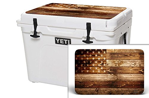 USA Tuff Thickest & Toughest Wrap 24Mil Cooler Accessories Decal for YETI 35QT Tundra Lid Kit – USA Flag Wood