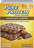 Pure Protein Chewy Oat Bars, Gluten Free, Snacks Bars, Chocolate Almond, 50 gram, 6 Count