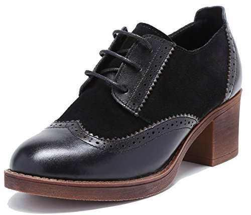 Genuine Suede Perforated up U Dress Leather Pump Mid toe Black Womens heel Oxfords lite Shoes Round Brouge Lace gqCtExtwp