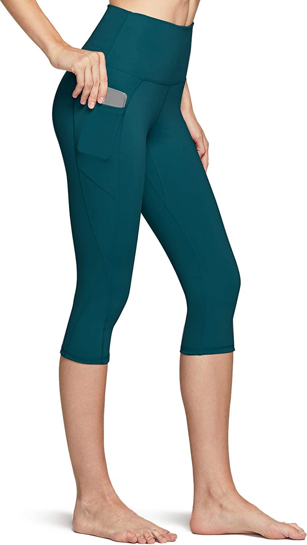 TSLA Women Capri Yoga Pants with Pockets, Capri Workout Leggings, 4-Way Stretch Yoga Capri Leggings w Hidden/Side Pocket