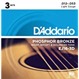 D'Addario EJ16-3D Phosphor Bronze Acoustic Guitar Strings, Light, Pack of 3