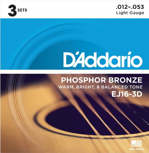 - D'Addario EJ16-3D Phosphor Bronze Acoustic Guitar Strings, Light Tension - Corrosion-Resistant Phosphor Bronze, Offers a Warm, Bright and Well-Balanced Acoustic Tone - Pack of 3 Sets