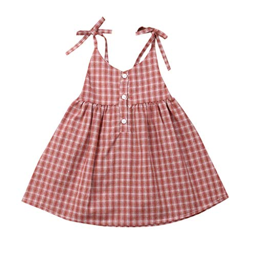 NUWFOR Printed Dresses Straps Toddler Kid Baby Girl Sleeveless Plaid Party Princess Casual Dress Clothes(Pink,18-24 Months)]()