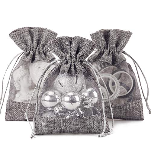 WRAPAHOLIC 4x5.5 inch 10 pcs Burlap Drawstring Gift Bag - Burlap with One Side Organza Wedding Party Welcome Favor Bags - Grey