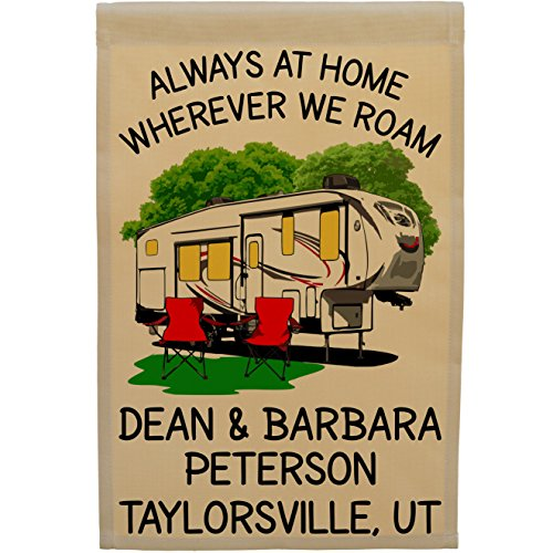 Happy Camper World Always at Home Wherever We Roam Personalized 5th Wheel Campsite Flag, Customize Your Way, Flag Only