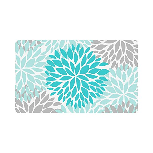 (InterestPrint Dahlia Pinnata Flower Turquoise Blue and Gray Doormat Non-Slip Indoor And Outdoor Door Mat Home Decor, Entrance Rug Floor Mats Rubber Backing, Large 30