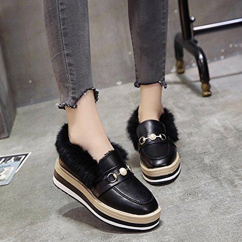 Zapatos Los de 5 de de de la con un Mujeres Grueso Extremo Amante Torta Británicos Encaje Zapatos Fondo el negro EUR36 Las Solo en 4wH8n0q