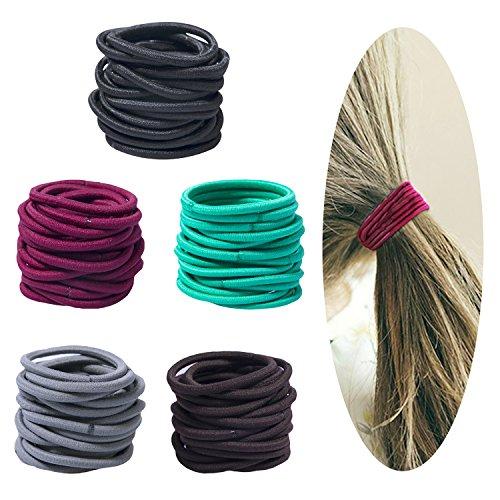 Damage Ponytail Holders - 100 Count Elastic Hair Ties Ponytail Holders No Metal PARTS - NO DAMAGE - Multicolor Girls Hair Elastics (4mm5cm)