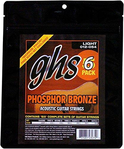 Ghs Phosphor Bronze Acoustic Guitar - GHS S325 Phosphor Bronze Light Acoustic Guitar Strings 6-Pack 5 PACK PHOS BRONZE 11'S