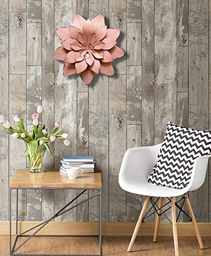 GIFTME 5 Dusty Light Pink Floral Metal Wall Art Decor(11.5x2 inch)