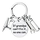 JLJ Keychain for Grandpa If Grandpa Can't Fix It No One Can Stainless
