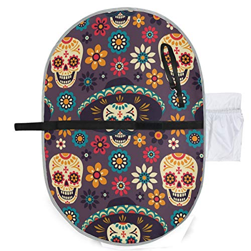 Dark Gothic Skull Waterproof Baby Changing Pad, Portable Diaper Changing Pad, Diaper Bag Mat, Foldable Travel Changing Station | Stroller Strap,Side Pocket for Wipes Diaper| for Infants & Newborns